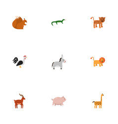 flat icons camelopard wildcat swine and other vector image vector image