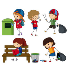 kids cleaning up the trash vector image vector image