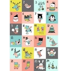 Merry Christmas Advent calendar Xmas poster vector image