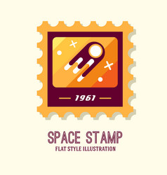 post stamp with rocket in the space and flat stamp vector image vector image
