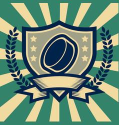 retro hockey puck sport emblem vector image vector image