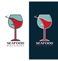 seafood restaurant design template with wine glass vector image