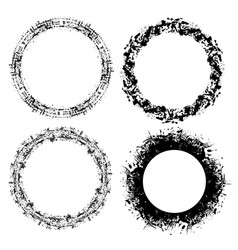 set grunge round frames with scratches and place vector image vector image