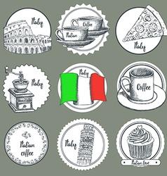 Sketch Italian icons vector image vector image