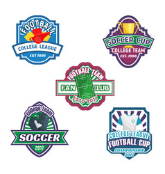 soccer cup and football sport club badge set vector image