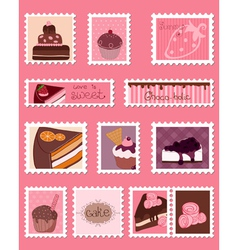 sweet postage stamps set vector image vector image