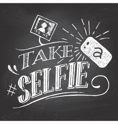 Take a selfie on blackboard vector image vector image