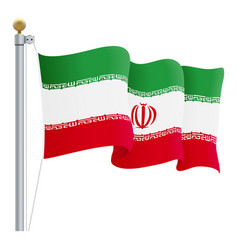 waving iran flag isolated on a white background vector image