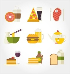 Food and drinks flat design icon vector image