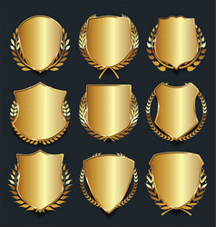 golden shield retro design vector image