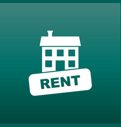 Rent house icon in flat style on green background vector