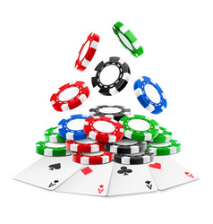 3d realistic chips falling on heap with cards vector image