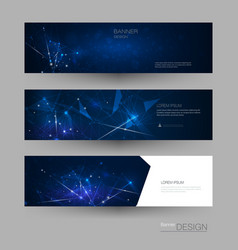 abstract molecules banner set with line geometric vector image