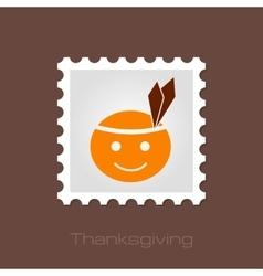 American Indian children stamp Thanksgiving day vector
