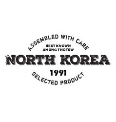 Assembled in North Korea rubber stamp vector