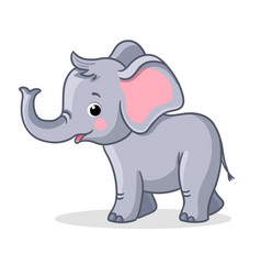 Baby elephant stands and smiles vector