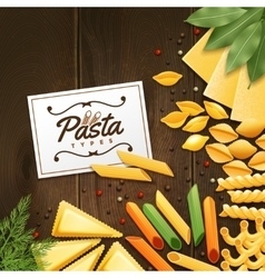 Background With Different Kinds Of Pasta vector image