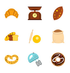Bakery icons set flat style vector