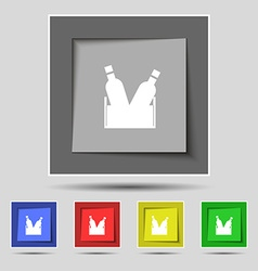 Beer bottle icon sign on original five colored vector