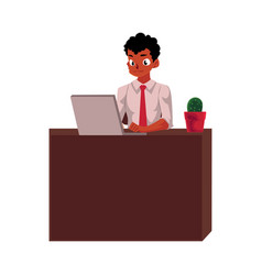 black african american businessman working on vector image