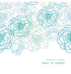 Blue line art flowers horizontal frame seamless vector