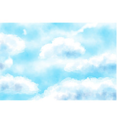 blue watercolor cloudy blue sky background vector image