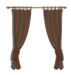 Brown kitchen curtains on ledge decor vector