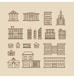 Buildings line thin icons vector image