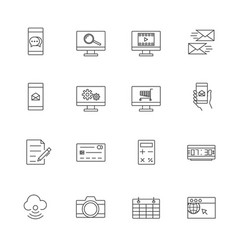 business and mobile technology icon set line icon vector image