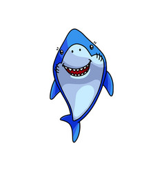 carnivore cute blue shark smile like a good friend vector image