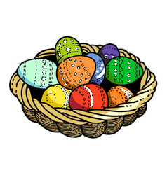 Cartoon image of basket with easter eggs icon vector