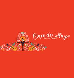 cinco de mayo banner mariachi hat decoration vector image