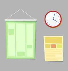 classroom accessories clock and board vector image
