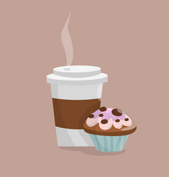 Coffee cup and muffin capcake vector