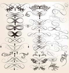 Collection decorative calligraphic flourishes vector