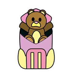 Color bear teddy toy inside backpack style vector