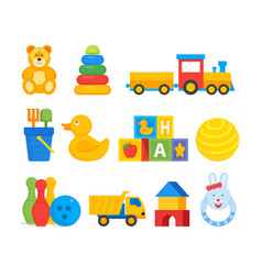 Colorful toys for infant kids vector