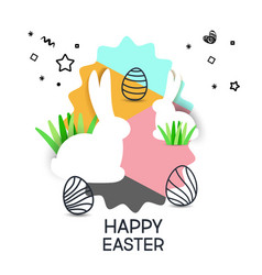composition of cute poster for easter egg vector image