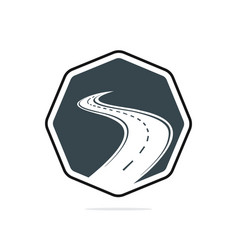 Creative road journey logo design vector