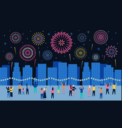 crowd watching fireworks dark night city with vector image