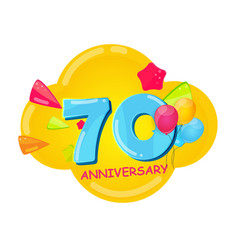 Cute cartoon template 70 years anniversary vector