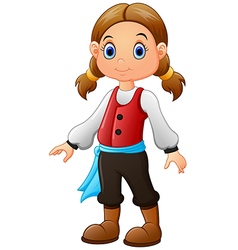 Cute little pirate girl isolated on a white backgr vector