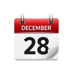 December 28 flat daily calendar icon vector