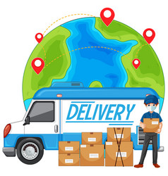 Delivery truck and courier with earth vector