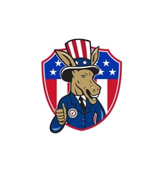 Democrat Donkey Mascot Thumbs Up Flag Cartoon vector image