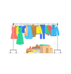 Donation clothes and shoes with hanger rack vector