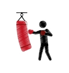 Drawing colored silhouette boxer trainer punching vector