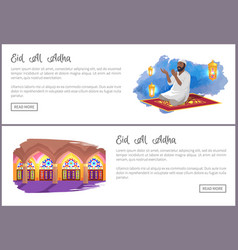 Eid al adha holiday internet pages templates set vector