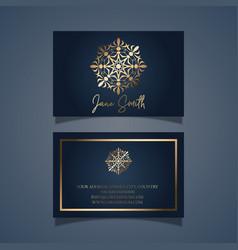 Elegant business card design with gold mandala vector