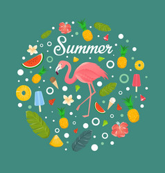 Flamingo with fruits and desserts in summer vector